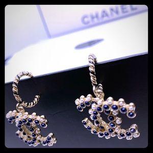 Chanel Large CC Logo Drop Earrings